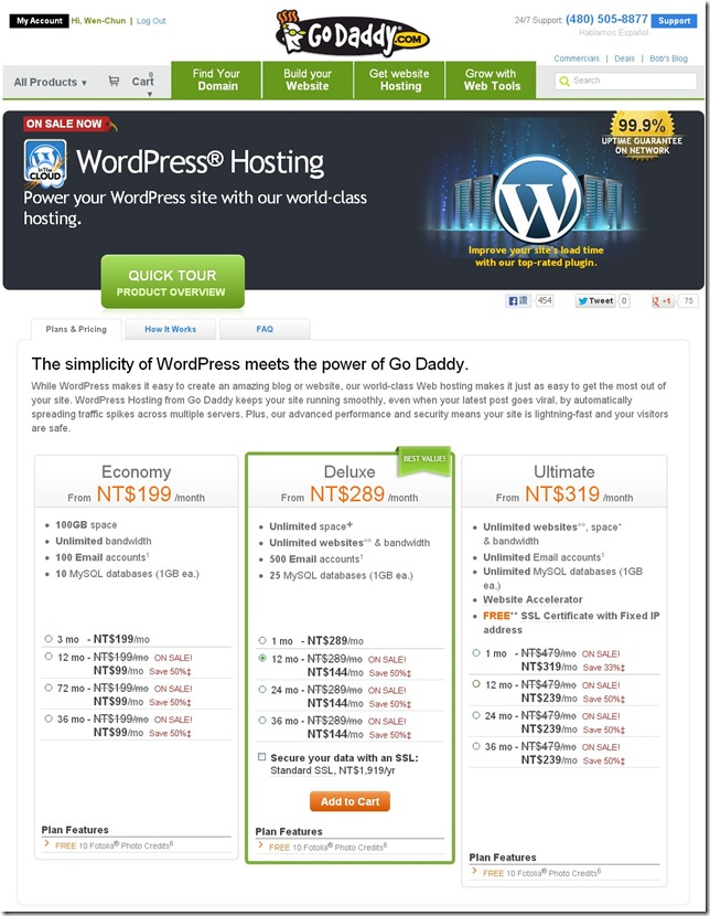 Go Daddy WordPress Price